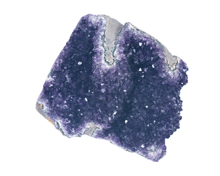 Amethyst purple druse  geode isolated on white background