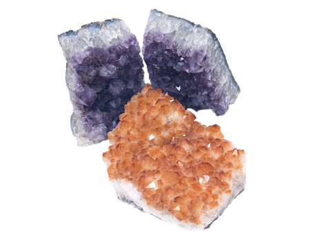 pituitary: Citrine druzy cluster surrounded by amethyst druzy clusters  isolated on white background