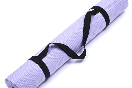Lavender rolled yoga mat with black handy carrying strap isolated on white background