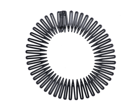 Black plastic stretch sport hair band full circle flexible comb, teeth headband clip isolated on white background