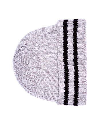 Chunky knit wool hat isolated on white background Stock Photo