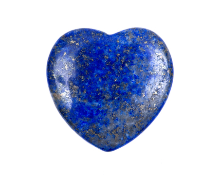 Rich blue lapis lazuli heart cabochon from Afghanistan isolated on white background