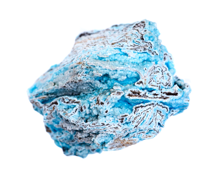Bright blue rough hemimorphite from Wenshan, Yuunan Province, China isolated on white background