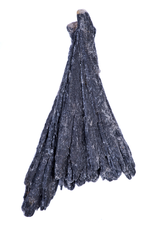 Well defined black Kyanite fan from Brazil, isolated on white background Stock Photo