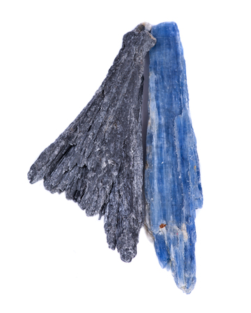 Well defined black Kyanite fan and Semi-translucent gem quality  blue Kyanite blade from Brazil, isolated on white background