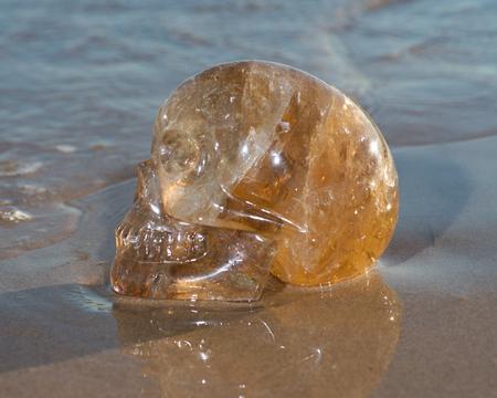 Natural Citrine  Quartz skull lying on wet sand on the beach at sunrise.