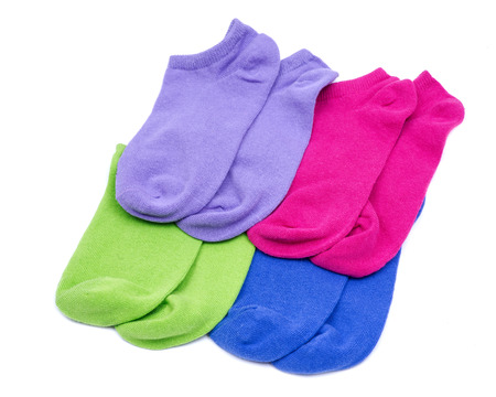 Woman's original ankle low rise colorful socks isolated on white background