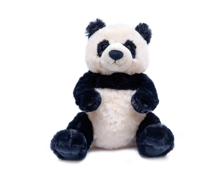 Panda bear stuffed plush toy isolated on white background