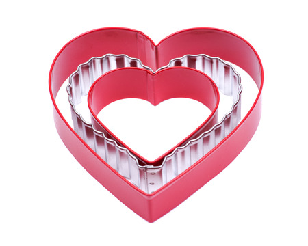Heart shape hollow cake cutter plastic mold and stainless steel heart-shaped gift biscuits cutting mold for cookies pastry dessert baking decorating isolated on white background