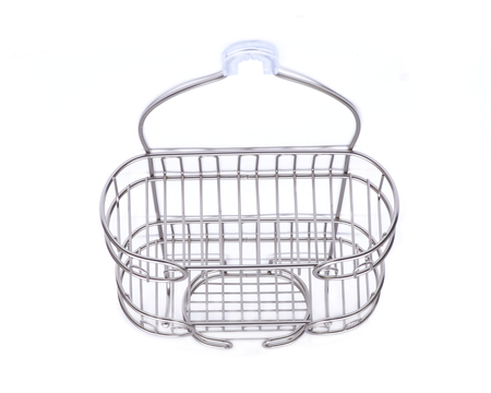 Luxury satin finish shower caddy isolated on white background Banque d'images