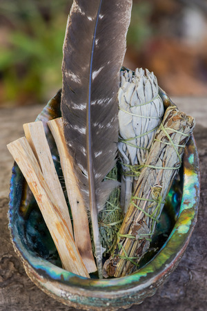 Smudging kit - Grade A barred turkey smudging feather, Peruvian  Palo Santo holy wood sticks, Wildcrafted dried white sage, Mugwort, and Siskiyou Cedar wrapped in organic hemp twine, Abalone shell.