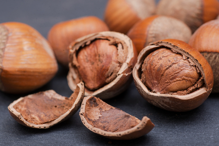 Fresh organic high quality hazelnuts, filberts on natural stone background.
