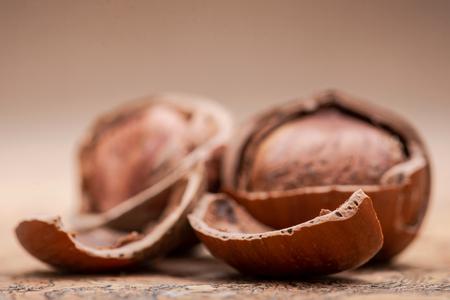 Fresh organic high quality hazelnuts, filberts on natural cork background.