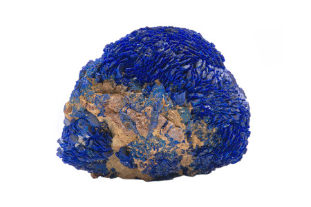 Bright blue full Azurite nodule from Russia isolated on white background
