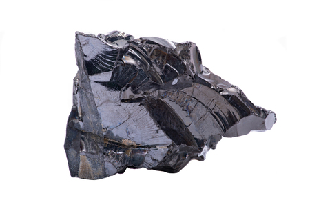 Rough lustrous elite Shungite from Russia isolated on white background Stock Photo