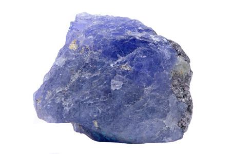 Blue violet extra quality rough Tanzanite from Tanzania isolated on white background.