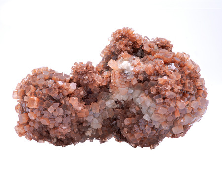 Aragonite star cluster from Morocco isolated on white background. Stock Photo