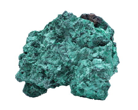 Dark green fibrous Malachite cluster from Shaba Province, Zaire, isolated on white background.