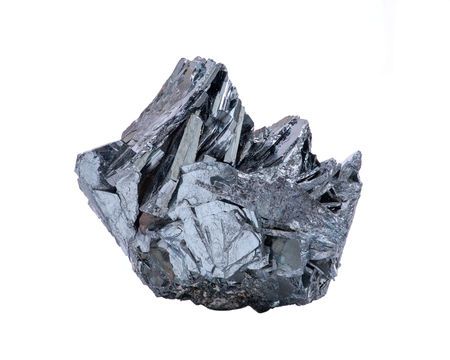 Unique bright and shiny metallic gray Hematite Formation From Utah, isolated on white background Stock Photo