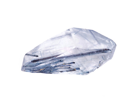 Clear quartz with Blue Tourmaline inclusions from Brazil isolated on white background