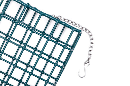 Single Metal Suet Wild Bird Feeder Cage  isolated on white background. With vinyl coated wire to protect birds feet.
