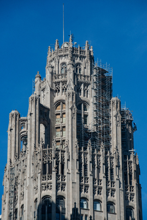 The Tribune Tower, a Neo-Gothic skyscraper in Downtown of Chicago. Part of Michigan-Wacker Historic District.