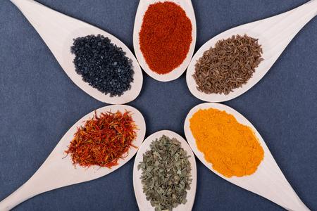 Collection of spices in wooden spoons (Saffron, Basil, Turmeric, Caraway seeds, Sweet Paprika, Black Lava Sea Salt) on dark background. Standard-Bild