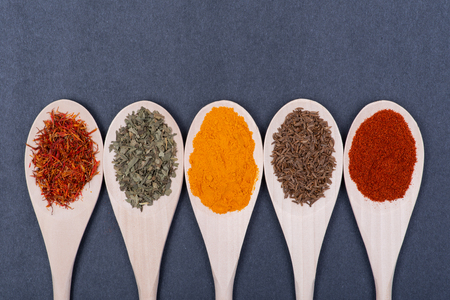 Collection of spices in wooden spoons (Saffron, Basil, Turmeric, Caraway seeds, Sweet Paprika) on dark background.