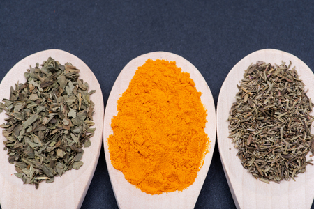 Collection of spices in wooden spoons (Dried Organic Basil, Turmeric Powder, Culinary Thyme Herb) on dark background.