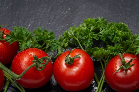 Organic Red Tomatoes on the vine and fresh Curly Parsley arranged on natural stone background. Solanum lycopersicum. Petroselinum crispum.