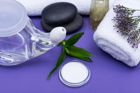Spa purple background with Neti Pot, pile of Saline, rolled up White Towels, stacked Basalt Stones and Bamboo Leaves. Sinus wash. Nasal irrigation. Stock Photo