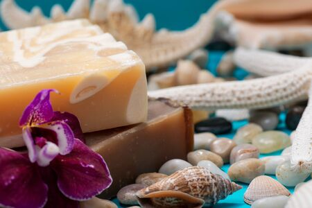 Handmade moisturizing Almond and Frankincense & Myrrh Goat's Milk Soap Bars decorated with small Pebbles, Sea Stars and Sea Shells on blue background.