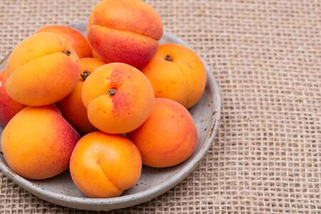 Fresh Ripe Organic Apricots on burlap background. Genus Prunus.