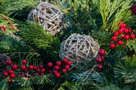 Outdoors Christmas decoration concept. Winter Holiday Tradition.