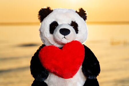 Panda Bear stuffed plush toy with Red Fluffy Heart at the sunrise in front of the lake. Love, Romance and Friendship concept. Banque d'images