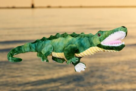 Green soft stuffed toy Crocodile at the sunrise in front of the lake. Banque d'images - 128873629