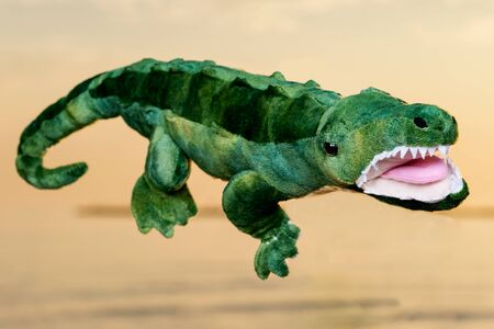 Green soft stuffed toy Crocodile at the sunrise in front of the lake.