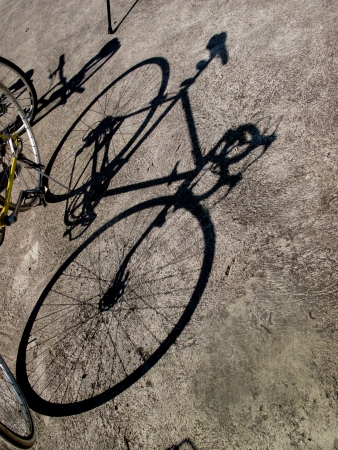 The shadow of bicycle