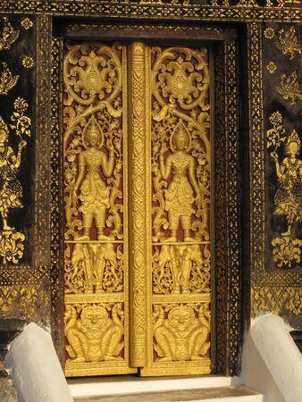 Traditional Thai style temple door Stock Photo
