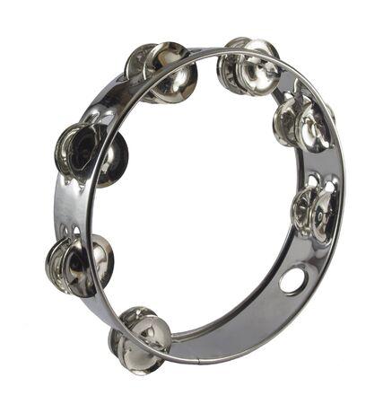 Metal tambourine in white background