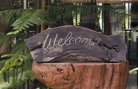 Welcome word on log Stock Photo