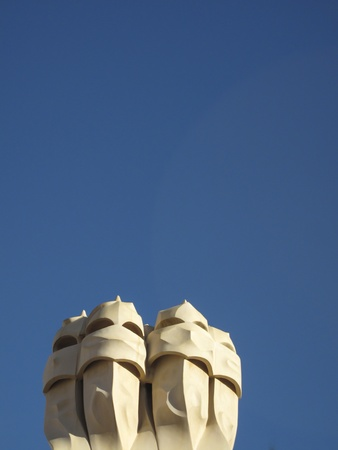 Casa Mila La Pedrera building roof and chimneys , Barcelona, Spain photo