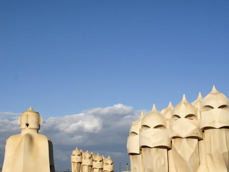 Casa Mila La Pedrera building roof and chimneys , Barcelona, Spain Stock Photo