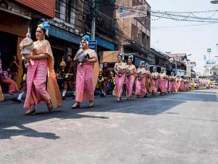 Chonburi, THAILAND-APRIL 13: Chonburi Songkran festival. The parade annual Chonburi Songkran festival .on April 13,2016 in Chonburi,Thailand.