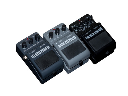 distort: Effects Guitar Pedal , Heavy Metal, Overdrive and Distortion Stock Photo