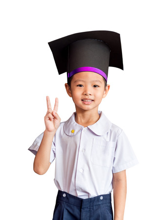 academic gown: Asian boy with an academic gown hat , white background