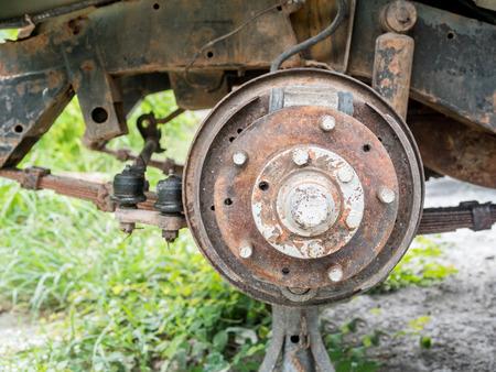 old vehicle wheel , drum breaks system, selective focus