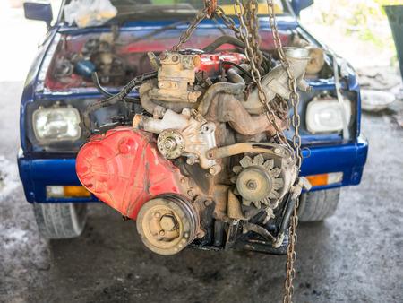 old diesel engine waiting for repair, selective focus