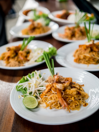 Thai Fried Noodles Pad Thai with shrimp and vegetables Stock Photo