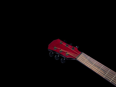 Acoustic  Neck Guitar, Red color, close up on black background